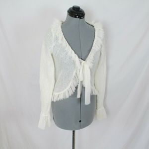 Dolled Up by FANG Sweater Tattered Fringe Trim L